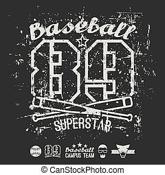 emblema, faculdade, basebol, superstar, equipe