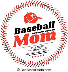 emblema, fondo., vettore, baseball, mamma, allacciamento, cappello, bianco
