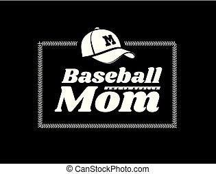 emblema, fondo., vettore, baseball, mamma, nero, allacciamento, cappello