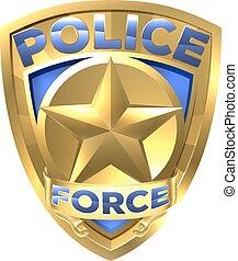 emblema, força, ouro, polícia