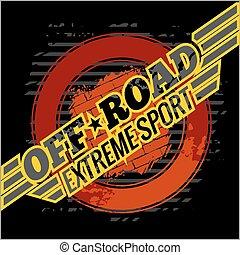 emblema, fuoristrada, vettore, -, automobili