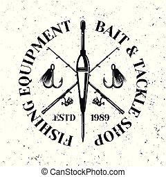emblema, galleggiante, due, vettore, attraversato, coni retinici pesca