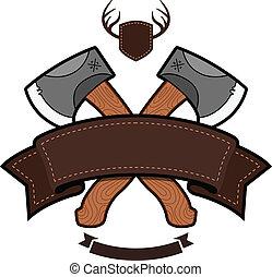 emblema, hacha