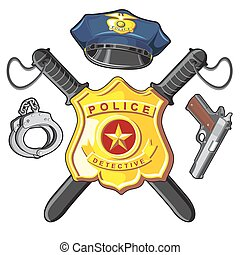 emblema, handgun, e, batutas, polícia