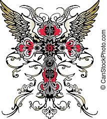 emblema, heráldico, vuelo, cruz, ala, tribal