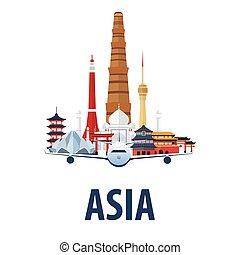 emblema, illustration., vacation., viagem, modernos, country., vetorial, asia., flat., viajar, viagem