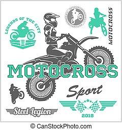 emblema, ilustração, vetorial, logotipo, emblema, cavaleiro, motocross