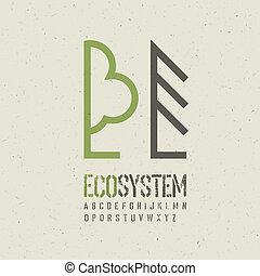 emblema, ilustración, ecológico, vector, eps10, template.