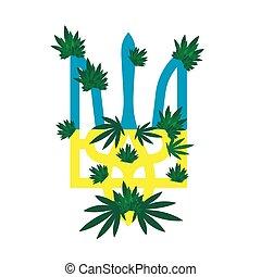 emblema, incollato, foglie, ucraina, canapa, inflorescences