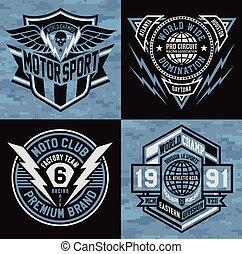 emblema, jogo, emblema, esportes