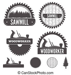 emblema, jogo, emblema, etiquetas, sawmill, elementos, woodworkers, ou, carpintaria