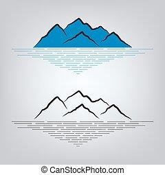 emblema, jogo, montanhas