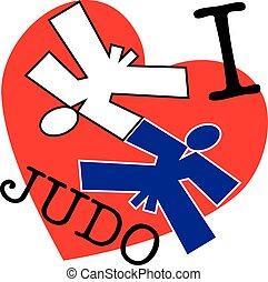 emblema, judo, amor