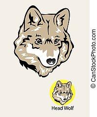 emblema, logotipo, cabeça, lobo