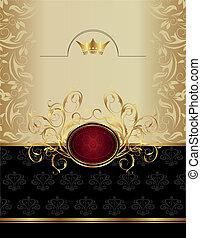 emblema, lusso, oro, etichetta