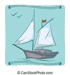 emblema, mão, desenho, sailboat., ondas, desenhado, navio