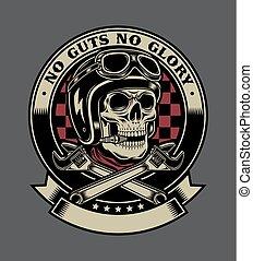 emblema, macaco, cranio, vindima, chaves, biker, cruzado