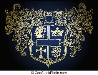 emblema, militar, desenho, escudo