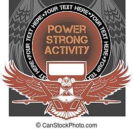 emblema, militar, vector, -, ilustración