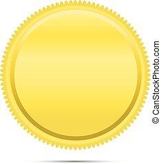 emblema, moeda, emblema, ícone, dourado, redondo
