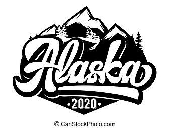 emblema, -, montanhas, vetorial, modelo, monocromático, inscrição, alaska., ilustração