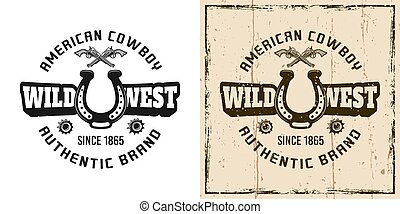 emblema, oeste, emblema, vetorial, etiqueta, retro, selvagem, logotipo