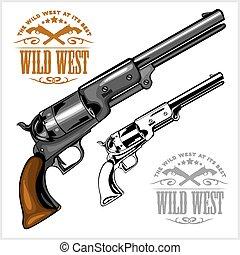 emblema, oeste, potro, revólver, americano, selvagem, antigas