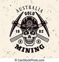 emblema, ouro, cranio, mineiro, vetorial, pickaxes