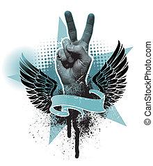 emblema, paz, -, mão, vetorial, sinal