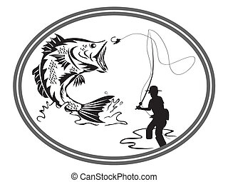 emblema, pesca, baixo