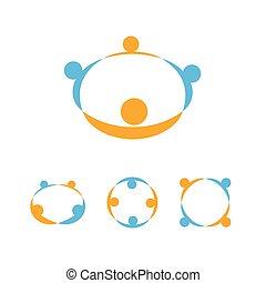 emblema, pessoas, sinal, set., comunidade, ajudando, união, vetorial, segurar passa, ícone, logotipo, modelo