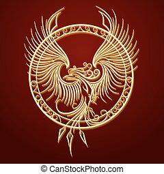 emblema, phoenix, cerchio
