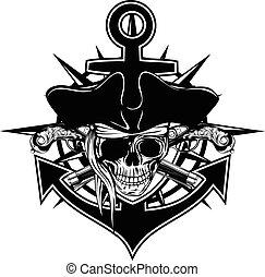 emblema, pirata, cranio