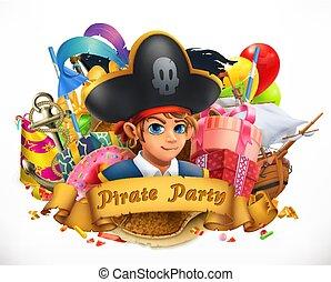 emblema, pirata, vettore, vacanza, festa., bambini, 3d