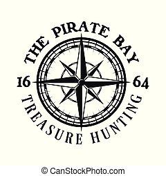 emblema, piratas, rosa, vetorial, compasso, vento