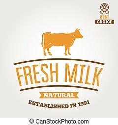 emblema, plano de fondo, vendimia, etiqueta, plantilla, leche, logotipo