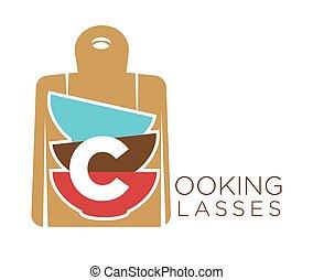 emblema, promo, cozinhar, tigelas, corte, classes, tábua