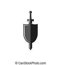 emblema, protector, caballero, espada, arma, torneo, batallas, histórico, logotipo, medieval