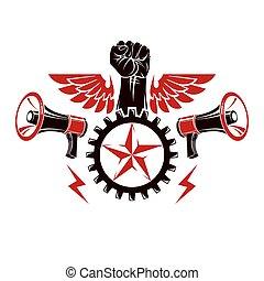 emblema, puño, compuesto, símbolo., apretado, rueda,...