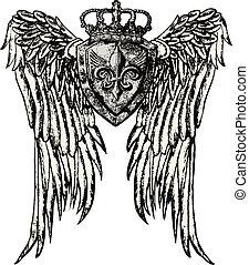 emblema real, con, ala, tatuaje