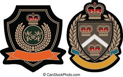 emblema real, escudo, acadêmico