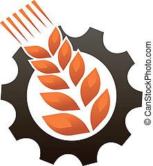 emblema, representando, indústria, e, agricultura