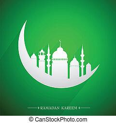 emblema, santo, ramadan, mes, islámico, w