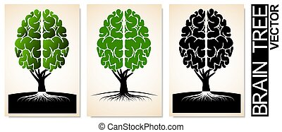 emblema, school., albero, corona, educazione, brain., umano, scienza, logotipo, simile, o, radici