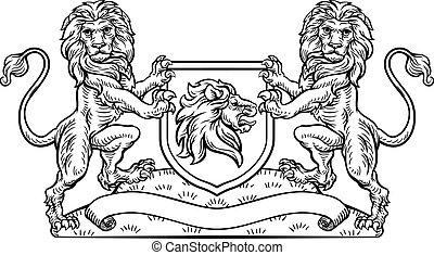 emblema, scudo, cappotto, araldico, braccia, leone, cresta