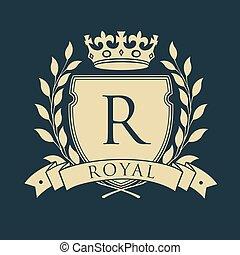 emblema, scudo, reale, araldico, corona, wreath., arms., vettore, illustrazione, cappotto, alloro