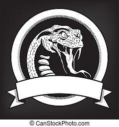 emblema, serpiente, ilustración