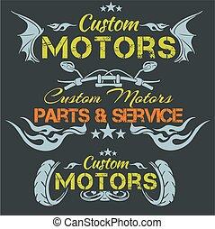 emblema, -, set., motores, costumbre, vector