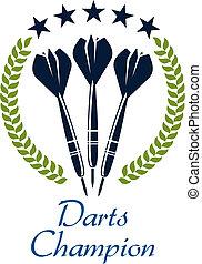 emblema, shampion, deportivo, dardos