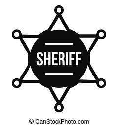 emblema sheriff, ícone, simples, estilo